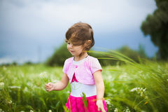 Bella ragazza spensierata che gioca all'aperto nel campo Fotografie Stock Libere da Diritti