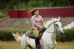 Bella ragazza su un paesaggio di horse Immagine Stock