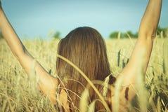Bella ragazza sul giacimento di grano Fotografia Stock Libera da Diritti