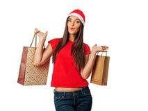 Bella ragazza sulle vendite di Natale Fotografie Stock Libere da Diritti