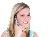 Bella ragazza teenager con il cellulare Fotografie Stock