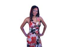 Bella ragazza teenager in vestito floreale Immagine Stock Libera da Diritti
