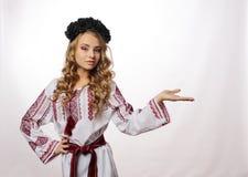 Bella ragazza ucraina in costume Fotografia Stock