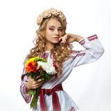 Bella ragazza ucraina in costume Fotografie Stock Libere da Diritti
