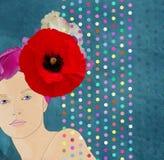 Bella ragazza in un cappello del fiore Immagini Stock Libere da Diritti