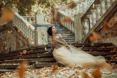 Bella ragazza in un oro, vestito lussuoso immagini stock libere da diritti