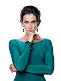 Bella ragazza in un ritratto blu del vestito Fotografia Stock