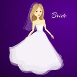 Bella ragazza in un vestito da cerimonia nuziale Sposa del fumetto di vettore nozze illustrazione vettoriale