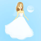 Bella ragazza in un vestito da cerimonia nuziale Sposa del fumetto di vettore nozze royalty illustrazione gratis