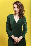 Bella ragazza in un vestito da una bella ragazza di seta verde scuro in un vestito da una bella ragazza di seta verde scuro in un Fotografia Stock