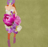 Bella ragazza in un vestito dal fiore Fotografie Stock Libere da Diritti