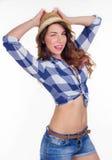 Bella ragazza in una camicia ed in un cappello Immagini Stock