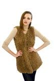Bella ragazza in una maglia una pelliccia artificiale Fotografia Stock Libera da Diritti