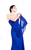Bella ragazza in vestito blu Fotografia Stock Libera da Diritti