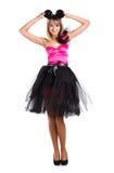 Bella ragazza in vestito festivo con le orecchie di mouse Immagine Stock