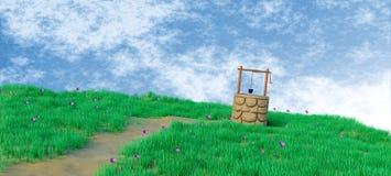 Bella rappresentazione del paesaggio 3d illustrazione di stock