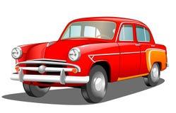 Bella retro automobile rossa su fondo bianco Immagine Stock
