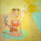 Bella retro donna del fumetto sopra il sole Fotografie Stock Libere da Diritti