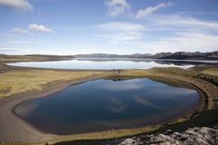 Bella riflessione e laghi meravigliosi in Icelan Fotografie Stock Libere da Diritti