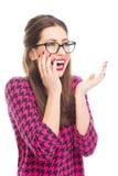 Bella risata della donna fotografie stock