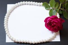 Bella rosa rossa con le perle sulla carta bianca in bianco dello strato immagini stock