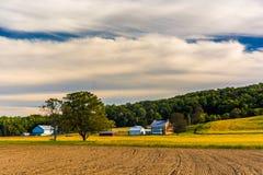 Bella scena dell'azienda agricola nella contea di York rurale, Pensilvania fotografie stock