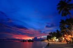 Bella scena di notte della spiaggia Fotografie Stock Libere da Diritti