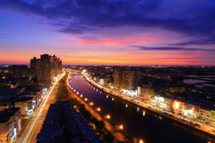 Bella scena di un canale, Taiwan di notte fotografia stock