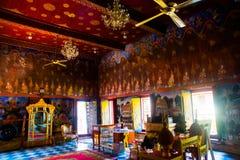 Bella scena dipinta su un tempio, Ayutthaya, Tailandia Fotografia Stock