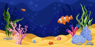 Bella scena subacquea con alga, vettore di vita marina illustrazione vettoriale