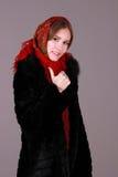 Bella sciarpa della donna in rosso Immagine Stock