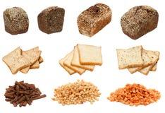 Bella selezione delle immagini isolate con i prodotti del pane Fotografia Stock