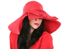 Bella signora in cappello rosso Fotografia Stock Libera da Diritti