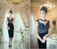 Bella signora castana in vestito nero elegante dal pizzo che posa in una scena d'annata Giovane donna alla moda sensuale sui tacc Immagine Stock