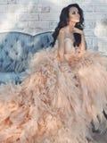 Bella signora nelle alte mode splendide si veste sul sofà Fotografie Stock Libere da Diritti