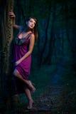 Bella signora spaventata su un sentiero nel bosco al crepuscolo Fotografie Stock Libere da Diritti