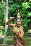 Bella signora tailandese in vestito tradizionale tailandese da dramma Fotografie Stock
