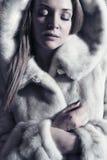 bella signora in una pelliccia immagine stock