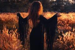 Bella siluetta della donna sul tramonto Fotografie Stock