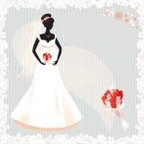Bella siluetta incinta della sposa Immagini Stock Libere da Diritti