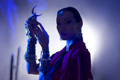 Bella siluetta indiana della donna con incenso che giudica una luna sy Fotografia Stock Libera da Diritti