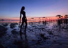Bella siluetta sexy della donna che posa vicino al mare Tramonto della spiaggia fotografia stock libera da diritti
