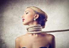 Bella sofferenza della donna Fotografie Stock
