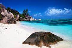 Bella sorgente di Anse della spiaggia d'Argent Immagine Stock
