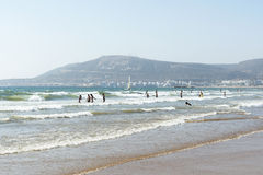 Bella spiaggia a Agadir Fotografia Stock Libera da Diritti