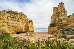 Bella spiaggia cliffy in Albufeira, Algarve, Portogallo fotografia stock libera da diritti