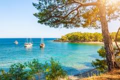 Bella spiaggia con acqua del turchese vicino a Kemer, Turchia fotografia stock libera da diritti