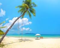 Bella spiaggia con il cocco Fotografie Stock Libere da Diritti