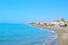 bella spiaggia del mare a Torremolinos Fotografia Stock Libera da Diritti