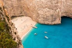 Bella spiaggia della baia in Grecia Fotografia Stock Libera da Diritti